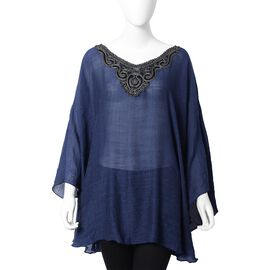 Silver Colour Embroidered Collar Poncho With Half Round Shape in Navy Blue Colour (Size 73.5x53 Cm)