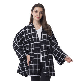 Super Chic and Versitile Chequerd Print Cardigan With Pockets - Black