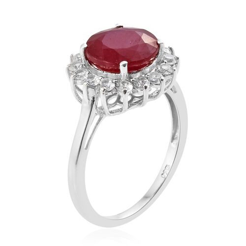 African Ruby (Rnd 5.00 Ct), Natural Cambodian Zircon Ring in Platinum Overlay Sterling Silver 6.250 Ct.