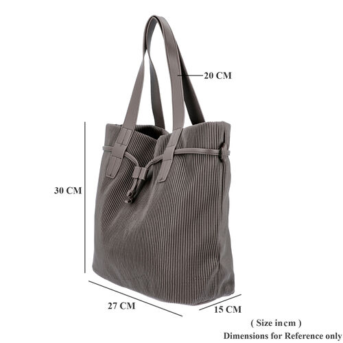 Stripe Pattern Drawstring Handbag with Magnetic Closure (Size 27x15x30 Cm) - Bronze