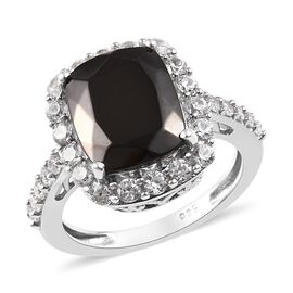 Silver Shungite (2.60 Ct),Cambodian Zircon Platinum Overlay Sterling Silver Ring  3.750  Ct.