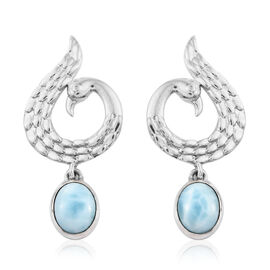Artisan Crafted Larimar (Ovl 10x8 mm) Peacock Earrings (with Push Back) in Sterling Silver 5.810 Ct, Silver wt 7.73 Gms