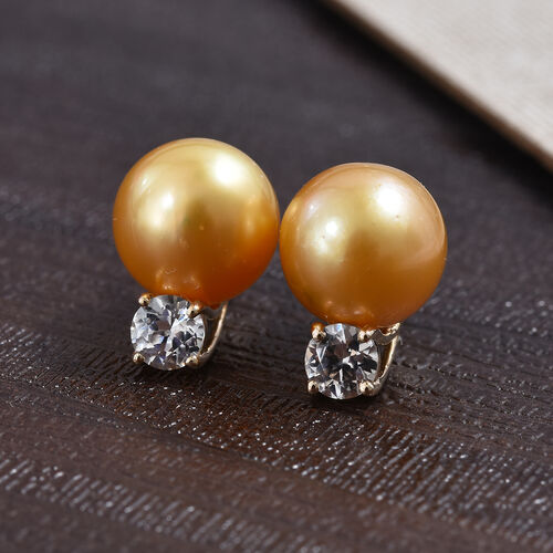 GP 9K Yellow Gold South Sea Golden Pearl (Rnd), Natural Cambodian Zircon and  Blue Sapphire Stud Earrings (with Push Back) 12.00 Ct.
