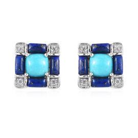 Arizona Sleeping Beauty Turquoise, Lapis Lazuli and Natural Cambodian Zircon Stud Earrings in Platin