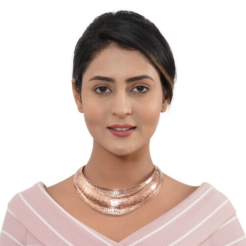 Shiny Patterned Collar Necklace (Size 16) in Bronze Tone