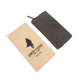 MCS Country Classics: 100% Genuine Leather Full Zip Buffed Ladies Purse - Dark Brown/ Cognac