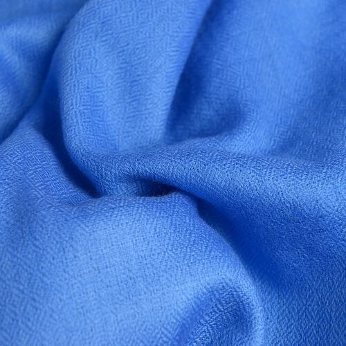 100% Cashmere Wool Blue Colour Scarf with Fringes (Size 200X70 Cm)