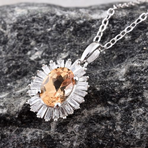 Limited Edition- Designer Inspired- Imperial Topaz (Ovl), Diamond Pendant With Chain in Platinum Overlay Sterling Silver 1.100 Ct.