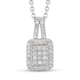 Diamond Pendant with Chain (Size 18) in Platinum Overlay Sterling Silver 0.33 Ct.