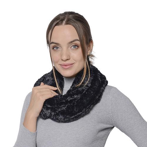 Italian Designer Inspired- High Quality Faux Fur Infinity Scarf 76x20cm) - Black