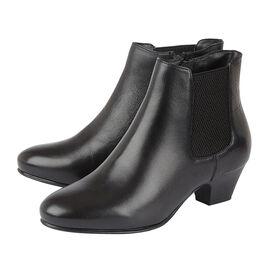 Lotus Black & Croc-Print Leather Victoria Ankle Boots