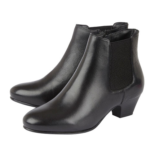 Lotus Black & Croc-Print Leather Victoria Ankle Boots (Size 3)