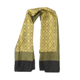 100% Mulberry Silk Yellow, Green and Black Colour Scarf (Size 100x100 Cm)