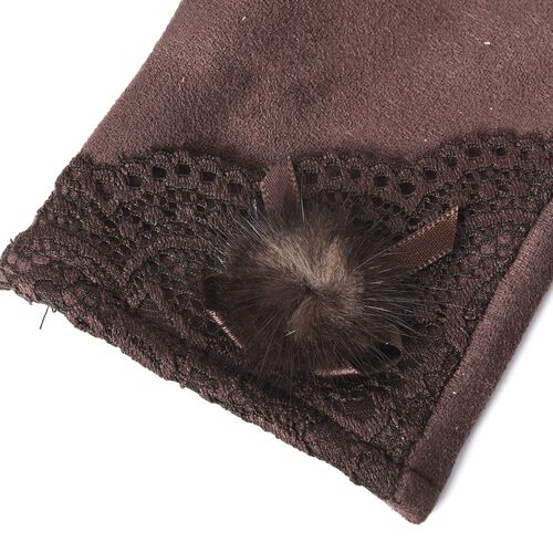 Solid Colour Women Winter Gloves with Lace and Faux Fur Ball on the Wrist (Size 8.9x22.9 Cm) - Chocolate