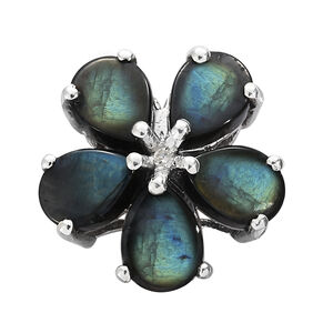 Natural Spectrolite (Pear), Diamond Floral Pendant in Platinum Overlay Sterling Silver 3.250 Ct.