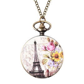STRADA Japanese Movement Eiffel Tower Pattern Pocket Watch with Chain (Size 31) in Antique Bronze Pl