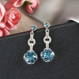 J Francis Crystal from Swarovski Aquamarine Crystal Earrings (with Push Back) in Platinum Overlay Sterling Silver