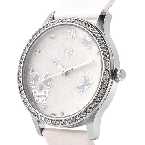 3 Piece Set - Simulated Diamond, White Shell Pearl and White Austrian Crystal Butterfly Watch with White Strap, Necklace and Earrings