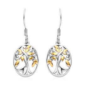 Platinum and Yellow Gold Overlay Sterling Silver Fish Hook Earrings