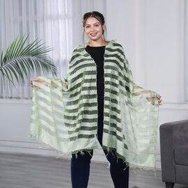 JOVIE - New Season Handmade Scarf with Fringes in Green (Size 76x235cm)