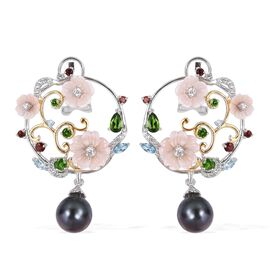 Jardin Collection Tahitian Pearl and Multi Gemstones Drop Earrings in Platinum Plated Sterling Silve