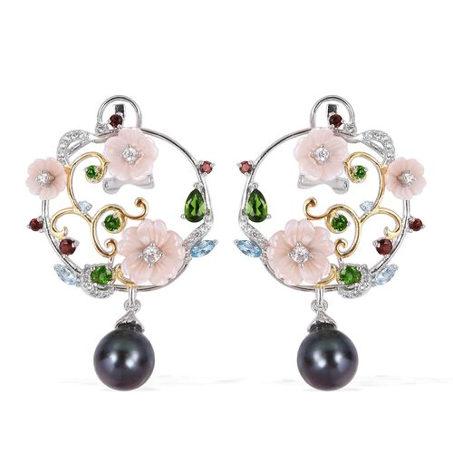 JARDIN COLLECTION - Tahitian Baroque Pearl, Pink Mother of Pearl, Russian Diopside and Multi Gemstone Floral Earrings (with French Clasp) in Rhodium and Gold Overlay Sterling Silver 7.80 Gms