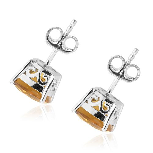 Collectors Edition-Heliodor (Cush) Stud Earrings (with Push Back) in Platinum Overlay Sterling Silver 3.500 Ct.