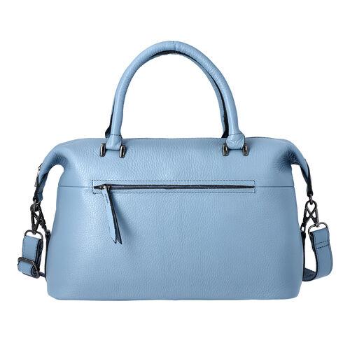 Super Soft 100% Genuine Leather Solid Light Blue Satchel Bag with Adjustable Shoulder Strap and Zipp