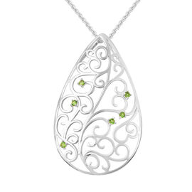 LucyQ Victorian Era Collection - Russian Diopside Filigree Design Pendant with Chain (Size 20) in Rh