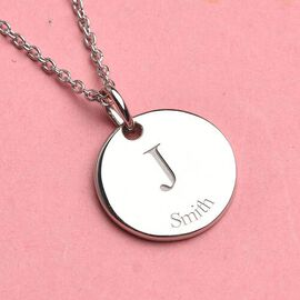 Personalised Initial and Date Engraved 15MM Disc Pendant with Chain in Silver