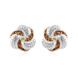 Yellow Diamond Swirl Design Stud Earrings (with Push Back) in Sterling Silver