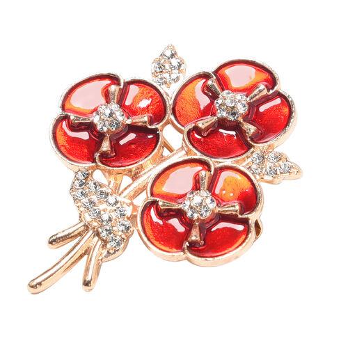 TJC Poppy Design - White Austrian Crystal Enamelled Poppy Bouquet Brooch in Gold Tone