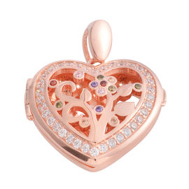 Limited Edition- Simulated Diamond (Rnd) Heart Pendant in Rose Gold Overlay Sterling Silver, Silver wt 6.90 Gms.