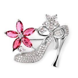 Simulated Diamond and Simulated Pink Sapphire Heel Brooch or Pendant in Silver Tone