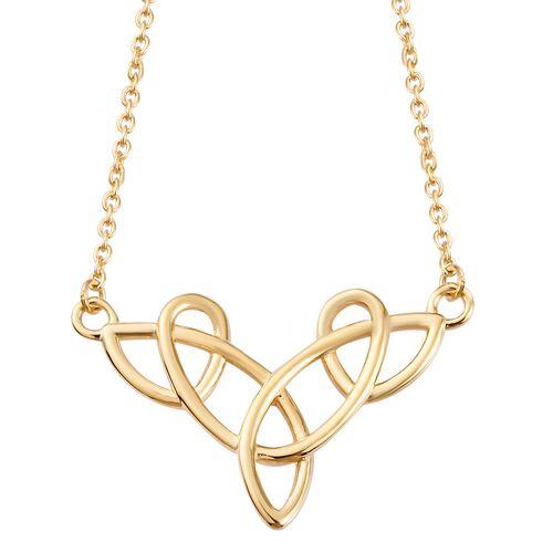14K Gold Overlay Sterling Silver Celtic Knot Necklace (Size 20)