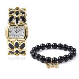 2 Piece Set - STRADA Japanese Movement Water Resistant Bracelet Watch and Black Agate Stretchable Br
