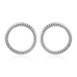 Platinum Overlay Sterling Silver Circle Earrings (with Push Back)