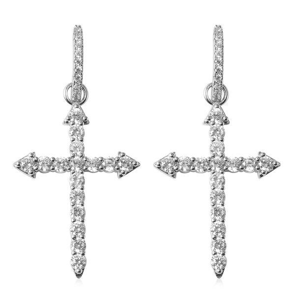 Simulated Diamond Huggie Hoop Cross Earrings in Silver Plated