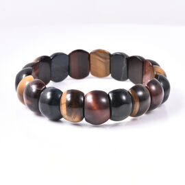 171 Ct Multi Tiger Eye Stretchable Beaded Bracelet 7 Inch