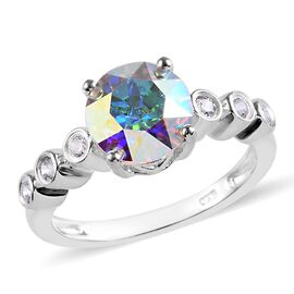 J Francis AB Crystal and White Crystal From Swarovski Classic Ring in Silver