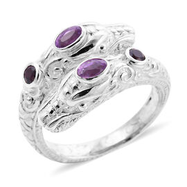 Royal Bali Collection - Pink Sapphire (Ovl 5x3mm) Dragon Head Ring in Sterling Silver 1.03 Ct, Silve