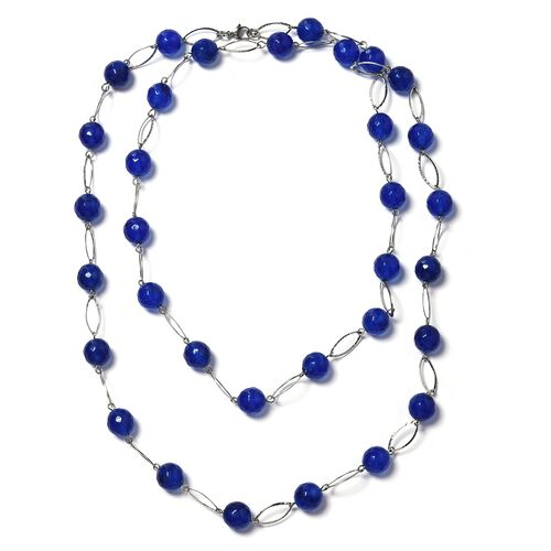 Designer Inspired- Faceted Blue Agate (Round 11-13mm)Necklace (Size 44) in Silver Plated 330.000 Ct