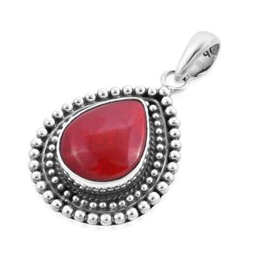 Royal Bali Collection - Red  Coral Pendant in Sterling Silver, Silver wt. 3.85 Gms