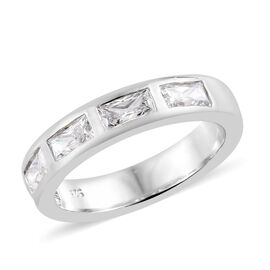 J Francis Made with SWAROVSKI ZIRCONIA 5 Stone Band Ring in Platinum Plated Silver