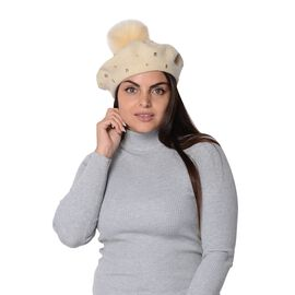 Winter Faux Fur Pompom Hat with beads (Size 52 Cm) - Cream