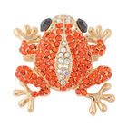 Multicolour Austrian Crystal Frog Brooch in Gold Tone