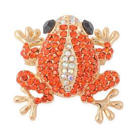 Multicolour Austrian Crystal Frog Brooch in Gold Tone