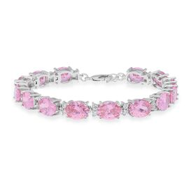 One Time Deal- Simulated Pink Sapphire (Ovl), Simulated Diamond Bracelet (Size 7 with 1 inch Extende