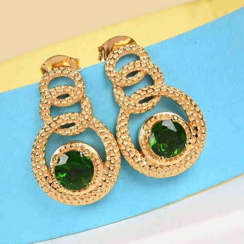 Russian Diopside Earrings (with Push Back) in 14K Gold Overlay Sterling Silver 1.50 Ct, Silver wt 5.50 Gms