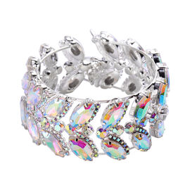 Simulated Mystic White Crystal and Simulated White Mystic Topaz Bangle (Size 6.5 with Extender)